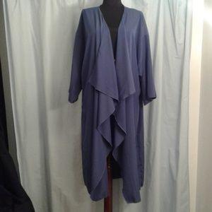Lularoe L Shirley Kimono 3/4 sleeve solid blue